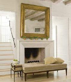 Bench in front of Fireplace