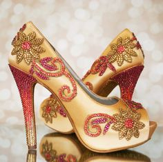 Gold, coral and fuchsia platform peep toes -- custom designed and bride inspired by Ellie Wren Custom Wedding Shoes