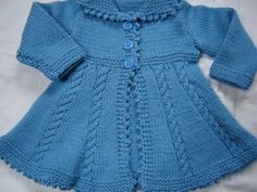 Baby Girl Toddler Sweater Coat Swing Style Hand Knit by SwanAvenue