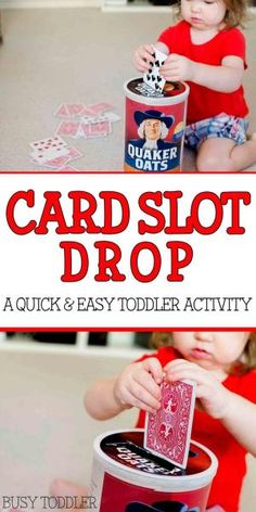 CARD SLOT DROP: A quick and easy toddler activity; fine motor skills activity… by deborah