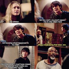"""Bellamy: You did what you think you had to do, like always. But you can't... you can't expect me to stay down here not knowing what happened to my sister. Jaha: We're not opening that door, son. Bellamy: You know what? I must have missed the election that made you chancellor again. #The100 4x11 """"The Other Side"""""""