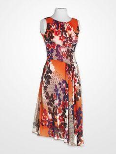 Women's Dresses - Evan-Picone Orange and Blue Floral Dress - K Fashion Superstore