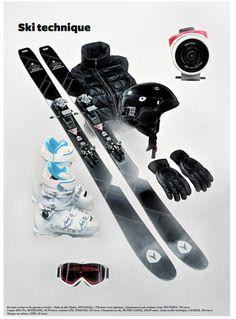 """""""Ski technique"""" : Photographe Jean-Pacôme Dedieu Stylisme Camille Vincent / Paire de skis Mythic, DYNASTAR, 1 358 euros (avec fixations). Doudoune en cuir et plume d'oie, PEUTEREY, 799 euros. Casque RH2 Pro, ROSSIGNOL, 69,99 euros. Caméra GPS, TOMTOM, 429 euros. Chaussures de ski, RX 80W, LANGE, 299,99 euros. Gants en fibre technique, LACROIX, 200 euros. Masque en acétate, CÉBÉ, 60 euros."""