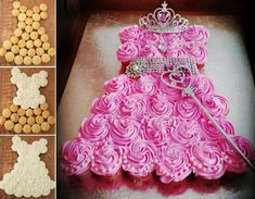 Sweet Princess Cupcake Cake Tutorial as featured on TheWhoot Princess Cupcake Dress, Princess Cupcakes, Cupcake Dress Cake, Butterfly Cupcake Cake, Cupcake Cupcake, Princess Theme, Easy Princess Cake, Baby Shower Cupcake Cake, Baby Shower Cupcakes For Girls