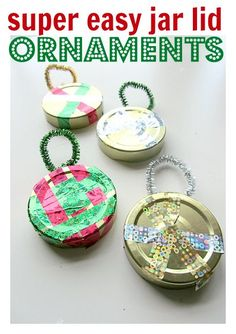 Christmas Crafts for Kids.  Jar Lid Ornaments from @Allison @ No Time For Flash Cards