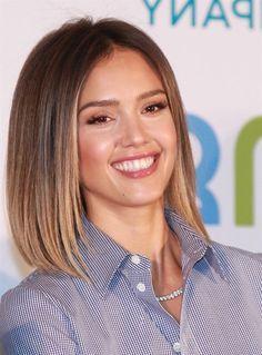 schulterlange Haare, Ombre Haare glatte Haare eine karierte Bluse und schönes Lächeln