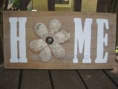 Home Wood Sign with Softball Baseball Flower by DozlersWreaths
