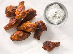 Bourbon-Glazed Chicken Drumettes with Blue Cheese Dipping Sauce Recipe | Epicurious.com
