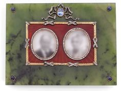 A DIAMOND, SAPPHIRE, IVORY, NEPHRITE AND 14K GOLD FRAME, RUSSIAN WORK