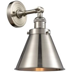 Stylize a transitional bath space with this brushed satin nickel adjustable wall sconce. Extends from the wall. Style # at Lamps Plus. Wall Light Fixtures, Wall Sconces, Woodland House, Wall Lights, Ceiling Lights, Steel Wall, Sconce Lighting, Bathroom Lighting, Modern Industrial
