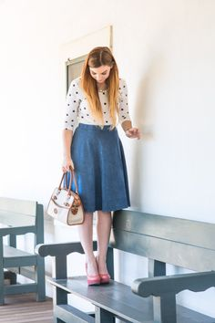 Dots and Denim - denim midi skirt, polka dot shirt, dot skirt, 3/4 sleeve shirt, wedges, coral heels, orange wedges, dooney and bourke, nixon, stella and dot, midi