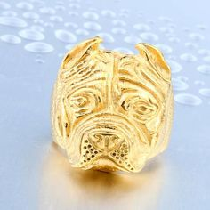 Pit Bull Dog Ring for Men - Stainless Steel Titanium (Available in Silver, Gold, Black Colors & 7 Sizes)