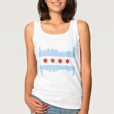 Cute Chicago Skyline Flag Basic Tank Top Tank Tops