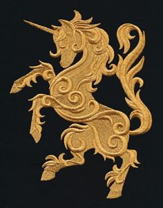 2015/06/09 Gilded Heraldry - Unicorn | Urban Threads: Unique and Awesome Embroidery Designs - Pattern $7.00