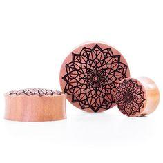 Mandala Two Saba Wood Plug   UK Custom Plugs - Gauges, Flesh Tunnels for Stretched Ears & Clothing