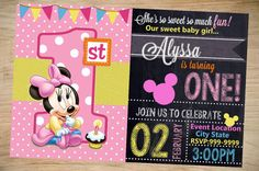 Minnie Mouse Birthday Invitation Chalkboard by Partyboxinvites