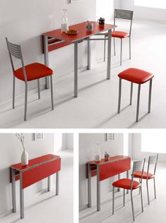 Conjunto de mesa plegable y sillas. Space Furniture, Furniture For Small Spaces, Furniture Decor, Murphy Table, Expandable Table, Foldable Table, Cozy House, Home Interior Design, Home Kitchens
