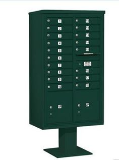 4C Pedestal Mailbox (Includes 13 Inch High Pedestal and Master Commercial Locks) - 15 Door High Unit (70-1/4 Inches) - Double Column - 18 MB1 Doors / 2 PL5 - Green by Salsbury Industries. $1564.08. 4C Pedestal Mailbox (Includes 13 Inch High Pedestal and Master Commercial Locks) - 15 Door High Unit (70-1/4 Inches) - Double Column - 18 MB1 Doors / 2 PL5 - Green - Salsbury Industries - 820996454690