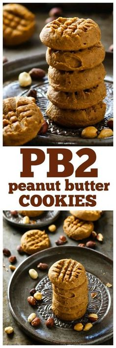 Peanut Butter Cookies Cookies they melt in your mouth with full-on peanut butter awesomeness. Oil free and a lot less sugar, fat and calories than regular peanut butter cookies! Pb2 Cookies, Galletas Cookies, Peanut Butter Cookies, Cookies Vegan, Healthy Baking, Healthy Desserts, Eat Healthy, Ww Desserts, Dessert Recipes