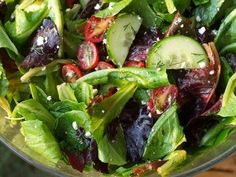 Simple Greek salad with lemon oregano vinaigrette