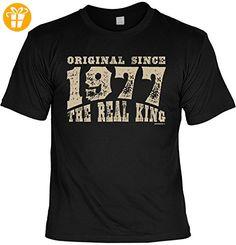 T-Shirt zum Geburtstag: Original since 1977. The real King - Tolle Geschenkidee - Baujahr 1977 - Farbe: schwarz (*Partner-Link)