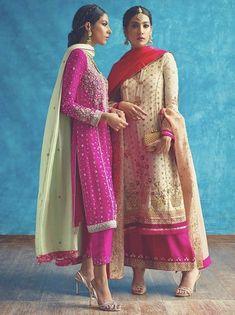 Gota patti pink kurti paired with cigarette pants Pakistani Formal Dresses, Pakistani Wedding Outfits, Pakistani Dress Design, Dress Indian Style, Indian Dresses, Indian Outfits, Sari, Lehenga Choli, Sharara
