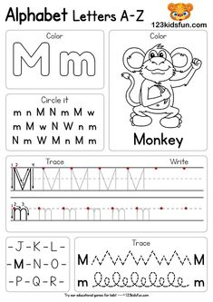 Free Alphabet Practice A-Z Letter Preschool Printable Worksheets to Learn Kids Preschool Writing, Preschool Letters, Preschool Lessons, Preschool Learning, Teaching Letters, Preschool Activities, Printable Preschool Worksheets, Phonics Worksheets, Alphabet Worksheets