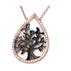 Damla içinde hayat ağaçı modelli,925 ayar gümüş bayan kolye