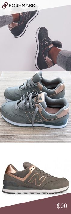 New balance 574 rose gold/ grey shoes Last picture is of the actual pair. Wore them once and haven't put them on since  super comfortable!! New Balance Shoes