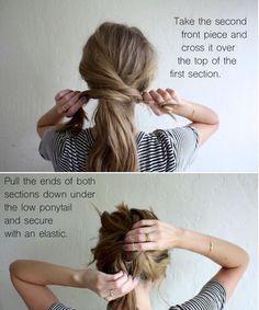 Hair Tutorial Messy Crossover Pony #Hair #Trusper #Tip