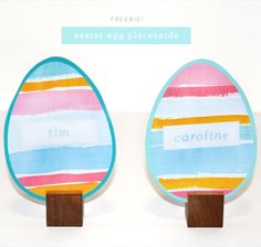 Easter Brunch Idea // Easter Egg Placecards from Colorwhirl.com