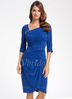 Mother of the Bride Dresses - $138.99 - Sheath/Column V-neck Knee-Length Chiffon Mother of the Bride Dress With Ruffle Beading (00805007232)