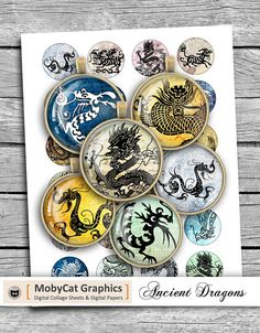 Ancient Dragons Printable Rounds 20 mm 25 mm 1.5 inch 30 mm 1
