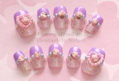 Kawaii nails deco nails fairy kei pastel lavender heart by Aya1gou, $19.80
