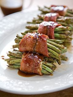 Barbecue-Glazed Green Bean Bundles - wrapped in country ham instead of bacon.