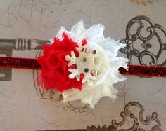 Red and White Snowflake Christmas Headband  by GirlyBowsandThings, $10.75