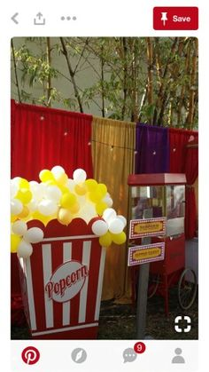 034 Popcorn Box Prop with Balloons- Event Planning: Jackie Ohh Events Carnival Themed Party, Carnival Birthday Parties, Birthday Party Themes, Dumbo Birthday Party, Circus Birthday, Birthday Box, Carnival Decorations, Kids Carnival, Popcorn Decorations