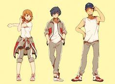 Yukari, Minato and Junpei Pokemon, Persona Crossover, Persona 3 Portable, Persona 5 Anime, Shin Megami Tensei Persona, Fandoms, 3 Arts, Comic Styles, Manga Illustration