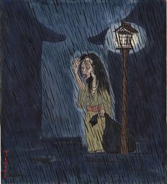 """Literally """"rain woman,"""" ame-onna started out as a rainmaker priestess in ancient China. People prayed to her, and she was highly respected. When her legend was brought to Japan, the story changed quite a bit and she became a yokai.  It is said that when a newborn child disappears a rainy day, an ame-onna is responsible. They are ugly hags who lurk in the rain, licking their own bodies, and carrying a big black sack which they use to capture children — especially children who cry on a rainy…"""
