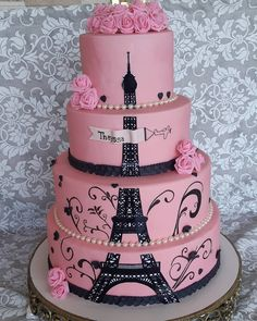 Paris Themed Quince Cakes: Love at First Bite! Paris Birthday Cakes, Paris Themed Cakes, Paris Themed Birthday Party, Paris Cakes, 16 Birthday Cake, Paris Party, Sweet 16 Birthday, Paris Themed Parties, Paris Quinceanera Theme