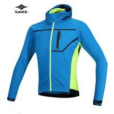 2017 Santic Thermal Hooded Cycling Jacket Composite Carbon Fiber W/ PU Windproof & Waterproof MTB Bike Jersey Sports Windbreaker