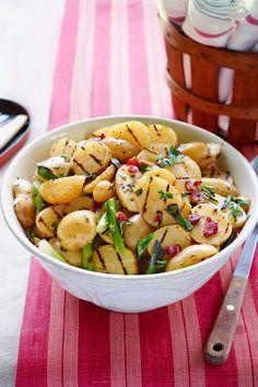 Grilled Potato Salad with Bacon Vinaigrettecountryliving