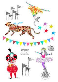 Unique wall sticker collection inspired by Circus characters and motifs ・Digitally printed onto clear vinyl・Size 40 cm x 30 cm (Set of 2 sheets)・Designed by Sas and Yosh & Printed in the Nutmeg Wall Art studio UK・Shipping worldwide from the UK. Circus Characters, Wall Decor, Wall Art, Wall Stickers, Illustration, Prints, Inspiration, Design, Wall Hanging Decor