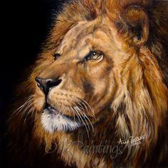 HRH - original oil lion painting, painting by artist Anne Zoutsos