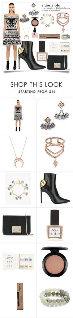 """""""Adorable"""" by camry-brynn ❤ liked on Polyvore featuring Alexander McQueen, DANNIJO, Jacquie Aiche, Diane Kordas, Brooks Brothers, Yves Saint Laurent, Furla, ncLA, MAC Cosmetics and Stila"""