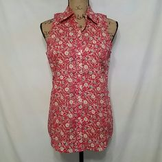 Chaps  Button down flower print Sleeveless top Chaps Tops Button Down Shirts