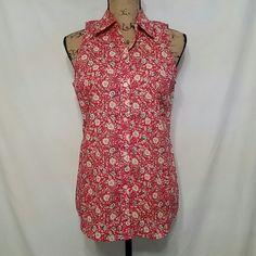 Chaps  Button down flower print Sleeveless top Chaps Tops Button Down Shirts