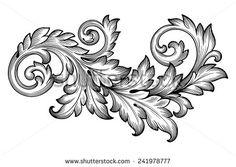 Vintage baroque frame scroll ornament engraving border floral retro pattern…
