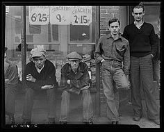 Striking coal miners in front of company store. Kempton, West Virginia.  Vachon, John, 1914-1975, photographer.  1939 May.