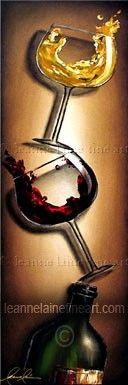 """""""Raise a Glass"""" by © Leanne Laine Fine Art https://www.facebook.com/leannelainefineart #wine #wineart #winepainting #fineart #art #paintings #raiseaglass"""